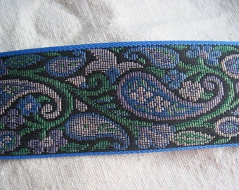Paisley sparkle  on BLUE jacquard woven belting