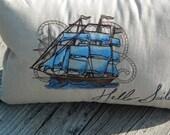 Nautical Pillow, Lumbar Pillow Cover, Handmade Pillow Cover, Natural Linen Pillow, Gift Under 40, Made in USA
