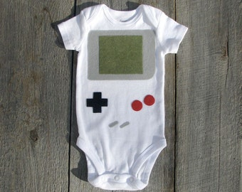 Baby Boy Clothes, Funny Baby Bodysuit, Newborn Costume, Baby Shower Gift, Baby Shirt, Retro Gift, Gamer, Handheld Video Game Baby Clothes