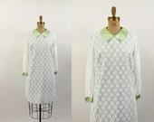 60s dress - 1960s lace overlay dress - 60s pistachio shift dress