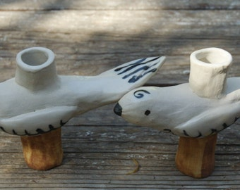 White Birds Candlestick Holders
