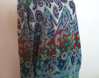 Whimsical Design Blue and Green Vintage MISSONI Sweater M