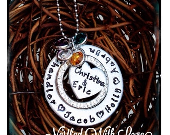 Personalized Hand Stamped Couple and Children necklace
