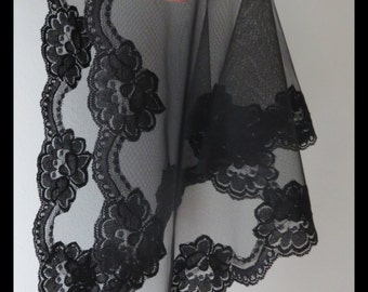 My number 1 seller at this time...Black Soft Floral Net Lace  Mass - Church Mantilla Scarf Veil - Headcover - Comes In 4 Sizes -