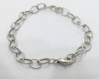 5 Silver Plated Bracelet Components Chain, Findings, 5 Pcs.  8x6 mm G2203