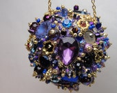 Vintage Rhinestone Bejeweled Ornament Purple Blue and Gold Art Piece HANDMADE