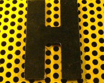 Vintage Reclaimed Industrial Aluminum Store Sign Letter H