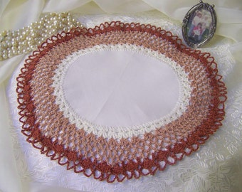 Crochet Doily, Centerpiece in Browns, Lace Table Topper, Home Decor, Warm Browns, Lace Accents