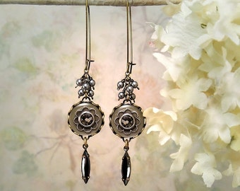 Delicacy - Sleek Taupe Gray Black Earrings Earthy Opal Brown Romantic Flower Jewelry Bohemian Greige Gray Pearl Earrings Marquise Hematite