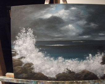 Stormy Ocean Waves, Beach, Night, Clouds, Rocks, Breakers, Sea, Spray, Water, Original Landscape Oil Painting