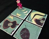 "Retro Coasters - Jade Green Blue Beatnik Guitars Tiki - GREAT Gift Idea - Ceramic Tiles & Fabric - Set of 4 - approx 4"" x 4"""