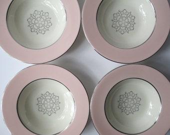 Vintage Soup Bowls International China Candlelite Pink Platinum Rimmed Set of Four
