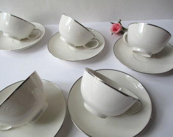 Vintage Franciscan Simplicity Teacup & Saucer Collection of Five - White and Platinum
