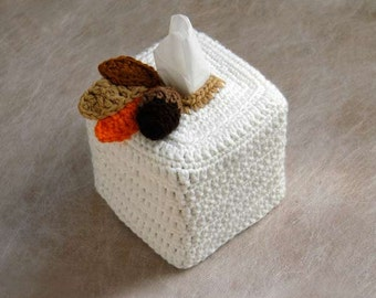 Rustic Modern Tissue Box Cover, Crochet, Autumn Leaves, Acorn, Kleenex Box Holder, Nursery Decoration, Woodland Home Decor