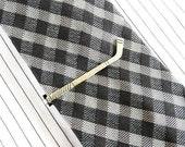 Hockey Stick Tie Clip- Hockey Tie Bar- Sterling Silver Ox Finish