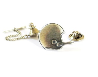Football Helmet Tie Tack Sterling Silver Ox Finish- Gifts For Men