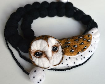 Barn Owl asymmetrical necklace, needle felted wool art accessory / design no.4