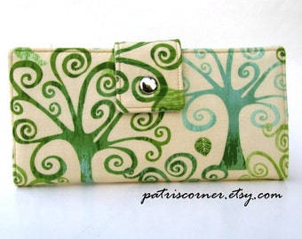 Handmade women's wallet clutch Love a tree, green, organic, fresh - Custom order