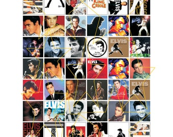 Elvis Presley 1x2 Domino Size 1 inch square images  Digital Collage Sheet Rockabilly Rock n Roll