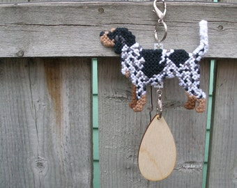 Bluetick Coonhound dog crate tag hang or anywhere decor handmade needlepoint, Magnet option
