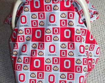 ohio state buckeye infant car seat canopy cover by patchworkohio. Black Bedroom Furniture Sets. Home Design Ideas