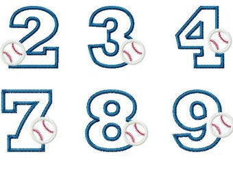 Baseball Birthday Numbers 1-9 Applique Design Set 10763