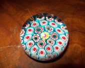Turquoise Millefiori Paperweight with Yellow and Red center Flower