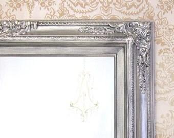"BATHROOM MIRROR Mirrors Brushed Nickel Accents Framed Baroque Bathroom Vanity Wall Mirror 31""x27"" Decorative Ornate Unique Mirror Rectangle"