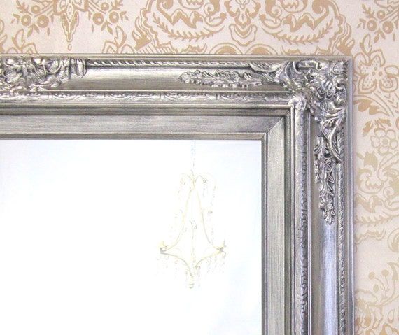 Brushed nickel accents bathroom mirror framed by Bathroom wall mirrors brushed nickel
