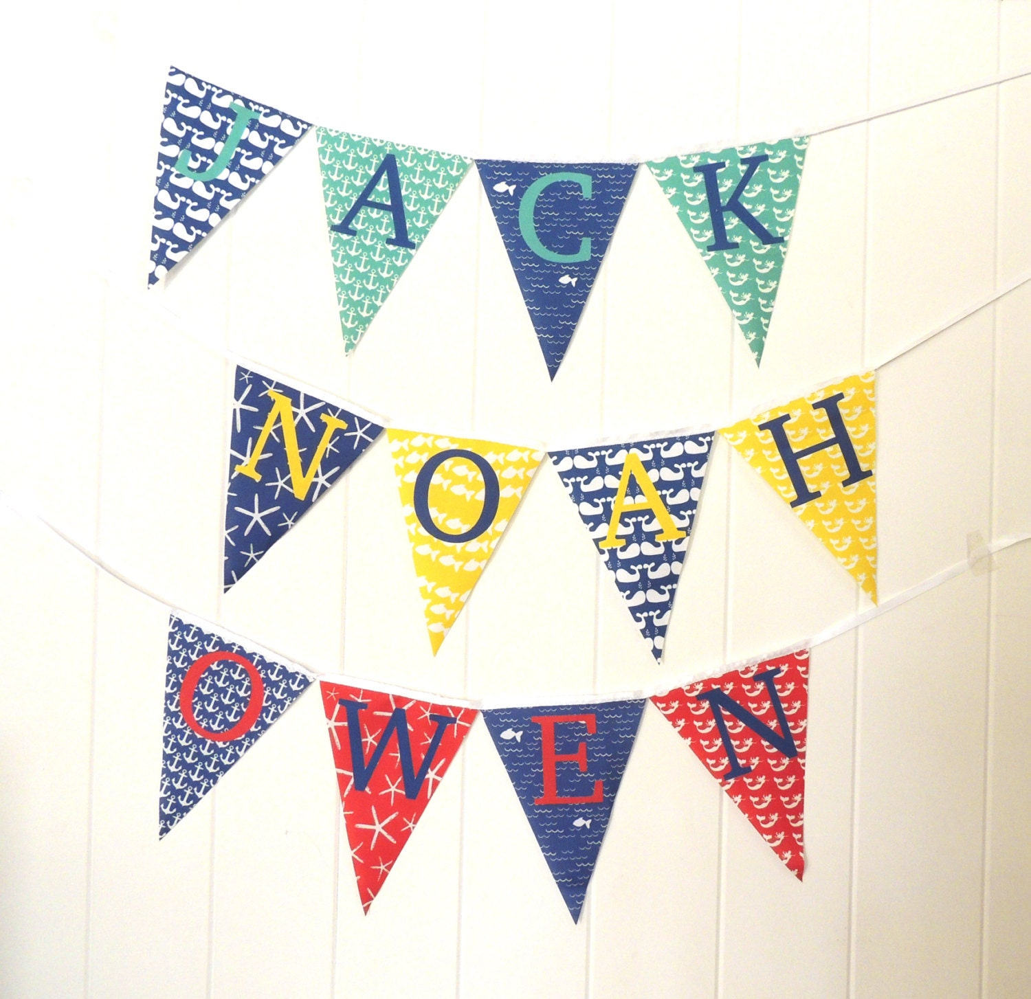 Personalized Fabric Pennant Flags Nautical Baby Name Banner