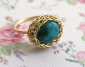 Turquoise Ring, Oval Turquoise ring, December birthstone ring, Gemstone ring, Stacking Ring