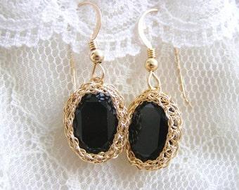 Swarovski Crystal Earrings, Black Crystal Earrings, Black Swarovski Earrings