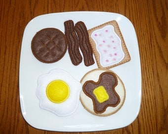 Breafast Felt Food Set Eggs Bacon Pancakes