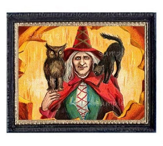 Halloween Witch And Cat Owl Miniature Dollhouse Art Picture 1584