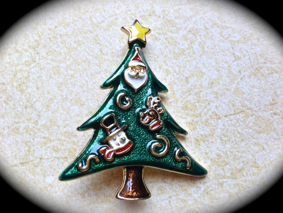 Vintage Christmas Tree Brooch, Christmas in july sale