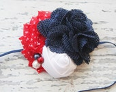 Pretty Patriot burlap chiffon flower and satin rosette festive Fourth of July headband