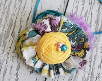 Through the Grapevine- purple, yellow and aqua teal ruffle, rosette and chiffon flower headband