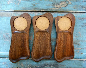 Set of 3 Handcarved Snack Trays Coasters Wood Cork Midcentury