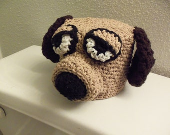 Crochet Dog Bathroom Tissue Cover, Brown Dog Toilet Paper Roll Cozy, Crochet Dog with Droopy Eyes, Bathroom Tissue Cover, Crochet Doggy