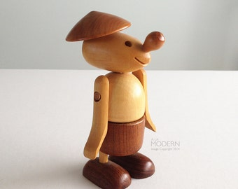 Vintage Whimsical Wooden Adjustable Toy Figurine with Hat Zooline Style
