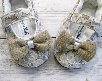 Burlap and lace shoes toddler lace shoes white lace and burlap shoes heirloom shoes girls lace shoes - Olga