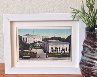 White House and President's Office, Washington, DC - framed vintage postcard