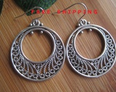 Silver Filigree Hoop Silver Tone Earrings  - Free Shipping  By Ferry Creek Vintage