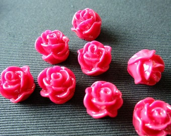 Destash (8) Flower Cameo Cabochon Resin - Hot Pink Rose - for pendants, jewelry making, crafts, scrapbooking