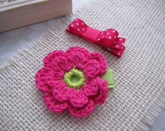 Shocking Pink . clippie set . girls hair accessory . crochet flower . tuxedo bow