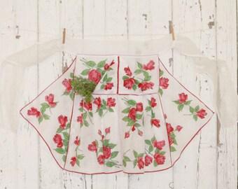 Vintage Apron Half- Hankie Hankies- Red Roses on White - Romantic Prairie Style