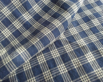 Antique 1870 Indigo Blue White  Gingham Homespun Fabric - Doll Clothes Quilt Repair