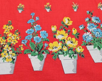 Vintage Novelty Fabric -  - 1940's Bright Flowers in Pots Red Background - Curtain Apron Fabric -Half Yard