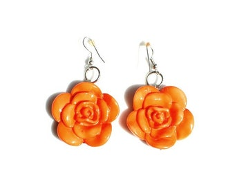 Tangerine Rose Cabochon Earrings