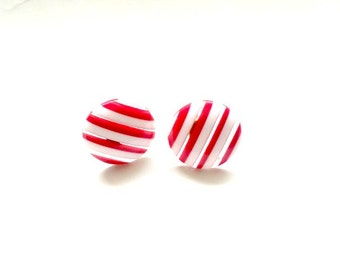 Red white and clear Nautical Stripe Vintage pierced Stud Earrings